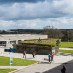 Centre of Penryn campus with students walking around
